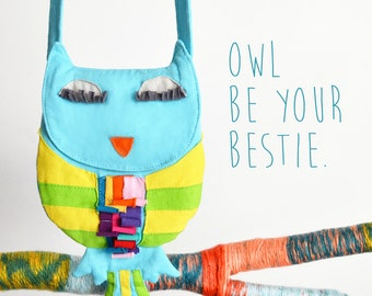 Girl's Purse, OWL Purse, Children's Purse, Applique Purse, Owl Accessories, Owl Gift, Girl's Accessories, Girl's Bag, Kid's Accessories