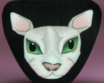 White Polymer Clay Cat Cane -'Here Kitty Kitty' (49A)