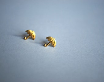 Umbrella Earrings -- Tiny Umbrella Studs, Brass Studs, Mary Poppins Earrings