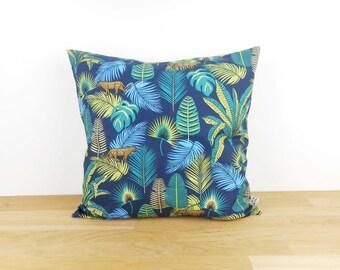 40 x 40 cm or 35 x 35 cm Cushion cover, home décor, nature, exotic, tropical jungle print fabric, animals, green, dark blue