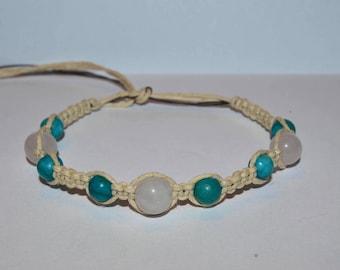 Quartz & Turquoise  Hemp Bracelet