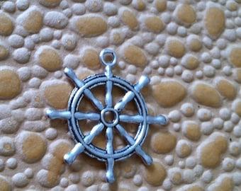 "6 Silver SHIP'S WHEEL charms for jewelry pendants sea life ocean beach 1-1/4"""