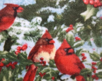 Winter Cardinals Fleece Fabric (1.5 yards)