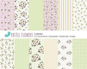 """Shabby Chick Paper Scrapbook Pastel Floral Paper Pad One-Sided Paper Pad 12""""X12"""" Cardstock Paper Pad"""