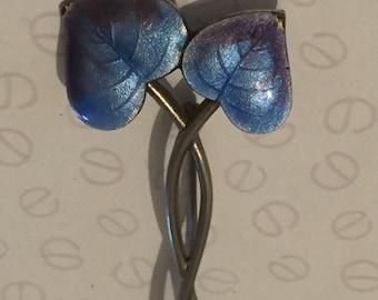 Antique Art Nouveau Blue Purple Enamel Entwined Leaf Pin, Decorative Arts Brooch