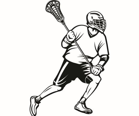 lacrosse player 1 helmet stick equipment field sports game rh etsy com lacrosse clipart black and white lacrosse clipart png