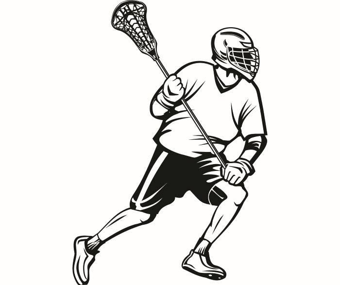 Lacrosse Player 1 Helmet Stick Equipment Field Sports Game