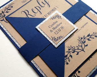 Rustic Winter Wedding Invitations in Navy and Silver