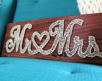 Mr. & Mrs. String Art (Love, Heart, Wedding, Marriage, Letter Sign)