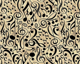 ENCORE - Musical Notes in Oatmeal - Music Cotton Quilt Fabric - Dan Morris for Quilting Treasures Fabrics - 27018-E (W4573)