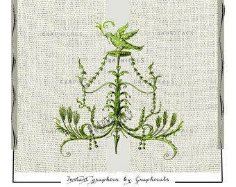 Green arabesque Bird printable graphic Instant Digital download image for Iron on fabric transfer burlap decoupage pillows cards No.  1717