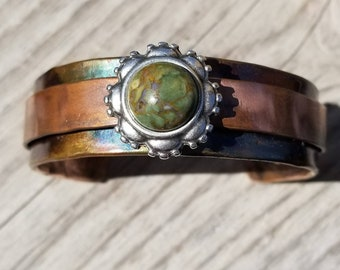Green Agate Copper Cuff
