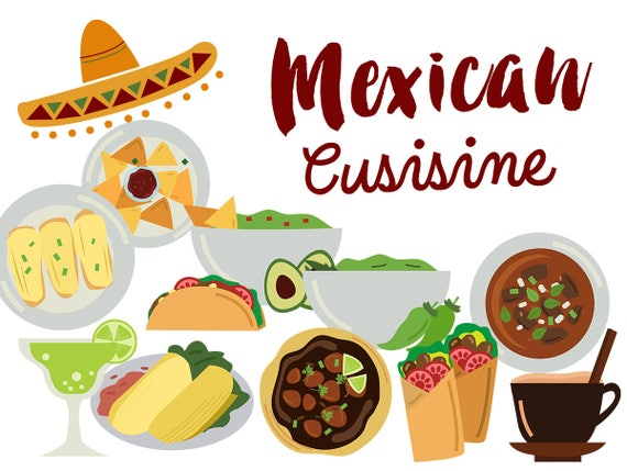 mexico clip art mexican food clipart mexican cuisine tacos rh etsy com mexican food lunch clipart mexican food clipart free