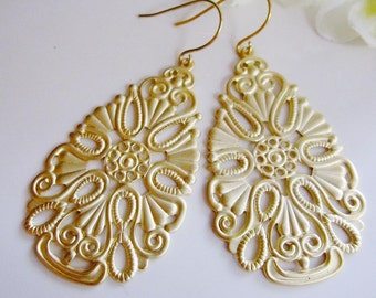 Gold Bohemian, Long Earrings, Hippie, Tribal, Pendant Style, Everyday Casual, Redpeonycreations