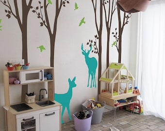 "Baby Nursery Wall Decals - Birch Trees Decal - Tree Wall Decal - Tree Wall Decals - Tree Wall Decal with Deer - Large: 104"" x 93"" - KC022"