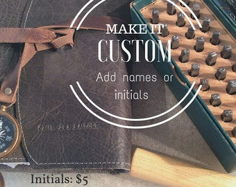 Leather Journal Custom Imprint name upgrade -addition to leather purchase
