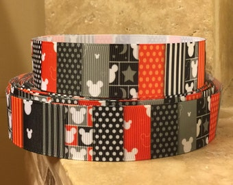 5 YDS Mickey Mouse Stripes Stars and Dots Ribbon