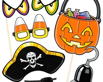 22 Kids Halloween Photo Booth Props - Instant Download - Free Photo Booth Sign