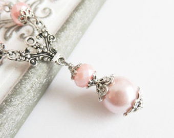 Pink victorian pearl necklace, neo victorian jewelry, beaded necklace, gift for her, cosplay jewelry, girlfriend gift, pink jewelry