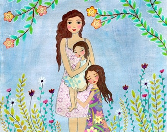 Mother Daughter Painting, Mother and Two Daughters Painting Art Print, Nursery Wall Art, Mother and Child Painting, Gift for Mother's
