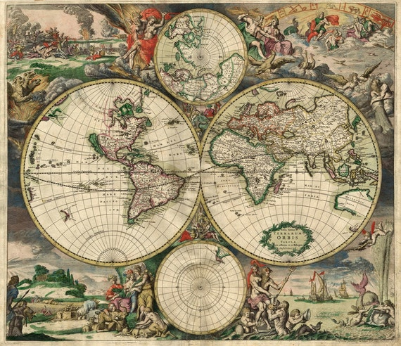 Old World Map Large VINTAGE world map HISTORIC 1689 antique Old World Copper Plate Style Map wall art housewarming gift Fine Art Print
