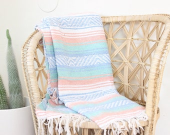 Vintage Mexican Blanket Pink Blue Green Falsa Serape Textile Throw Saltillo Quilt Southwestern Throw Mexican Blanket