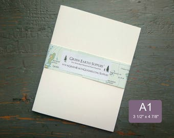 """25 A1 Folded Cards, 100% Recycled Blank Folded Thank you/RSVP/Note/Announcement Cards Only, 3 1/2 x 4 7/8"""", 80-100lb, White or Natural white"""