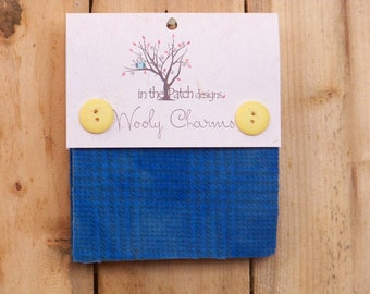 """Wild Blue Yonder, 5""""  x 5"""" Charm squares, over-dyed 100 % wool felt by  In The Patch Designs"""