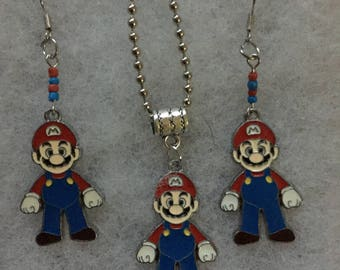 Handmade Mario necklace and earring set