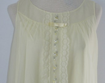 Mad Men, 1960's All Nylon,Soft Yellow,Sheer Over Opaque Nightie, By Shadowline