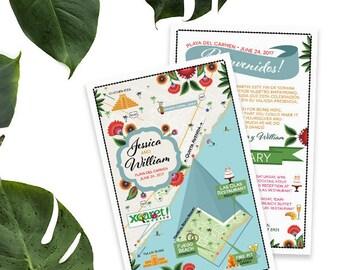 Custom Wedding MAP-Playa del Carmen Map-Mexico Wedding, Tropical Wedding Map, Fuego Beach Map, Destination Wedding- Beach Wedding, Itinerary