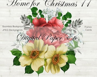 Sale Christmas Digital Clipart,  Digital Christmas Papers, Digital Frames, Christmas Scrapbooking, Christmas Commercial Use P 208