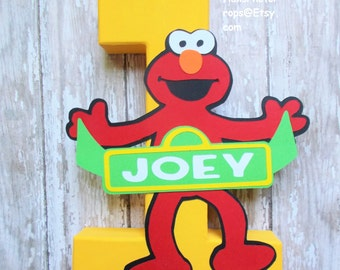 Elmo Birthday cake smash Sesame street sign centerpiece number boy girl twins optional personalization baby shower nursery name decoration