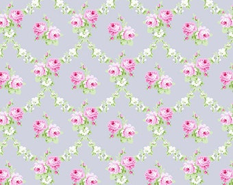 69014 Tanya Whelan  Charlotte rose trellis in gray -   1/2  yard