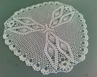 Lot de deux napperons crochets blanc
