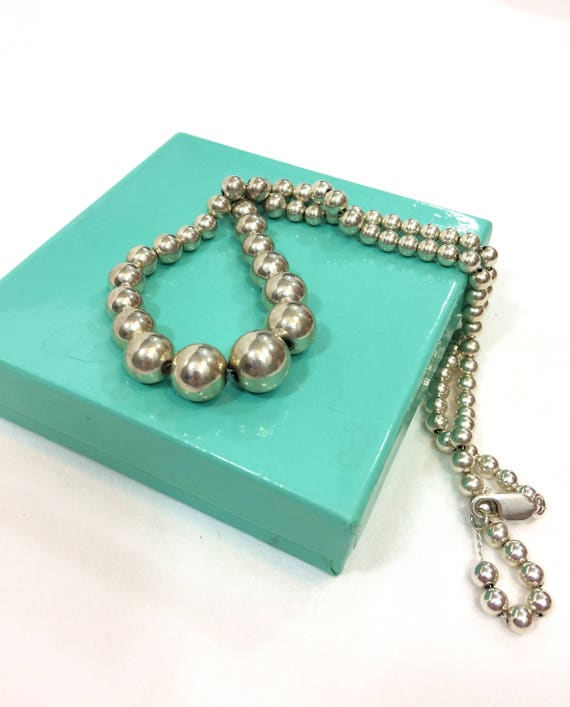 Sterling Silver Pearl Bead Necklace, Matinee Length, Lightweight Hollow Beads, Lobster Clasp, Vintage Mexican Southwestern Jewelry