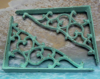 "Wall Bracket Cast Iron Shelf Ornate Vine 7 1/4"" x 5 3/8"" Brace Cottage Chic Beach Blue Shabby Elegance 1 Pair (2 individual brackets)"