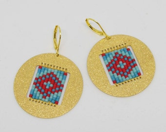Gold with Medallion - shades of Turquoise and Red earrings