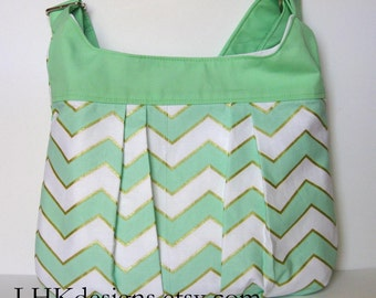 Mint green and gold chevron pleated cross body purse or bag with adjustable strap