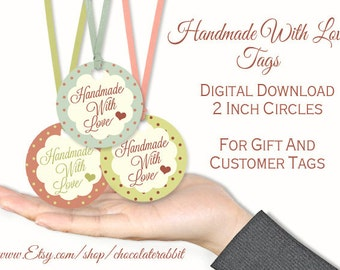 "Handmade With Love Gift Tag, 2"" Circle Clip Art, Printable Hang Tag, Price Tags, Collage Sheet Instant Download"