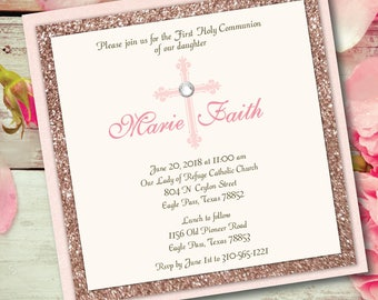Communion Invitation Girl Communion Glitter Invitation Blush and Rose Gold Glitter Invitation