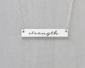 Inspiring necklace etsy strength necklace inspirational jewelry strength jewelry motivational bar necklace mantra pendant strength and dignity mozeypictures Choice Image