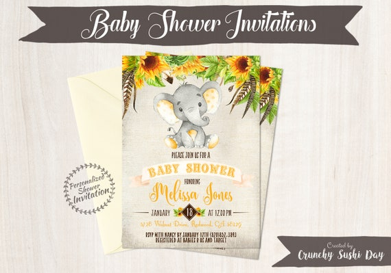 Baby shower invitations crunchy sushi day sunflower elephant baby shower invitations printable invitations fall baby shower elephant yellow filmwisefo Choice Image