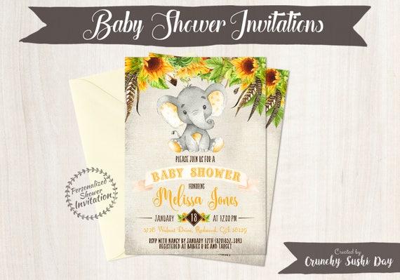 Baby shower invitations crunchy sushi day sunflower elephant baby shower invitations printable invitations fall baby shower elephant yellow filmwisefo