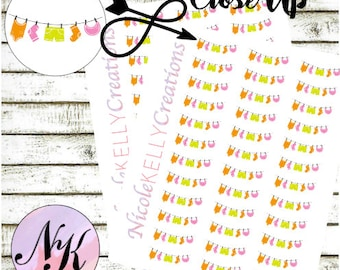 21 Stickers, Clothesline sticker, Laundry stickers,  use with Erin Condren Planner(TM), Happy Planner, Planner