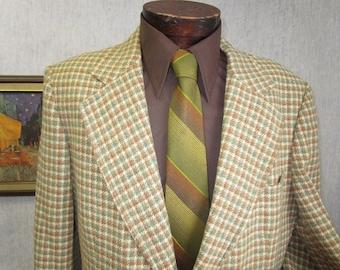 70s 46L Kimrick's Tweed Houndstooth Men's Jacket Sport Coat Camel Beige Green