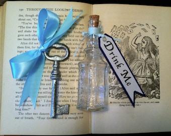 Alice In Wonderland Drink Me Bottle & Silver Ribboned Key
