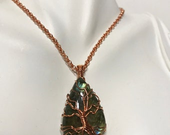 Blue Flash Labradorite Frameless Tree of Life Pendant Raw Copper Wire Wrapped Labradorite Cabochon with Satin Chain