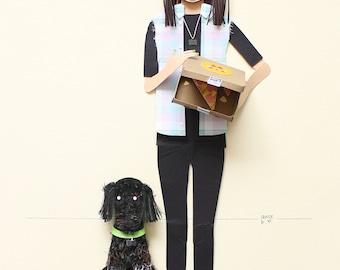 paper portrait, gift for her, personalized portrait, paper person portrait,