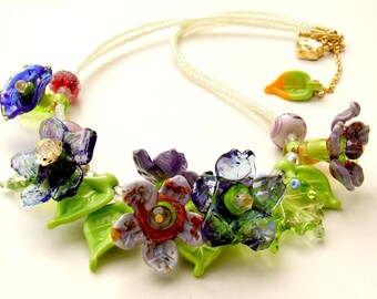 Handmade Lampwork Glass Purple -Green Bouquet, Spring Flowers Romantic Necklace